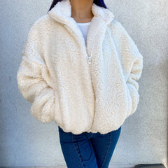 fluffly teddy jacket cream color