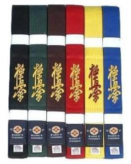 kyokushin karaté color belts  embroidered with kanji - karate kyokushin shop