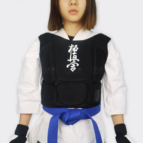 karate chest guard black Kyokushin Karate body kids and women - kyokushin-shop