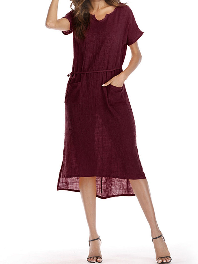 Women Summer Dress Shift Daily Casual Solid Dress