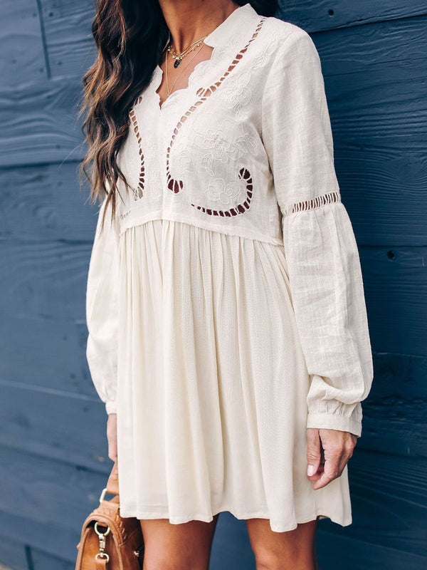 Relaxed Fit Printed Scalloped Split Neckline Boho Dresses