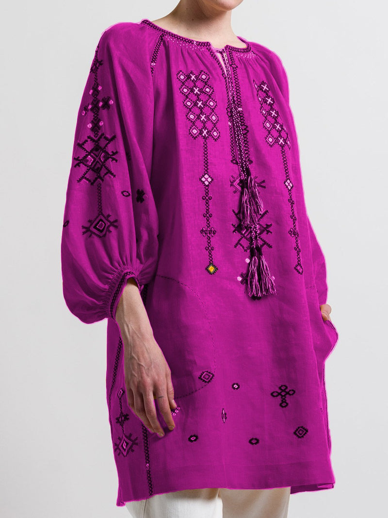 Round / V-Neck Long Sleeves Multi-Colored Blouse Top Tunic