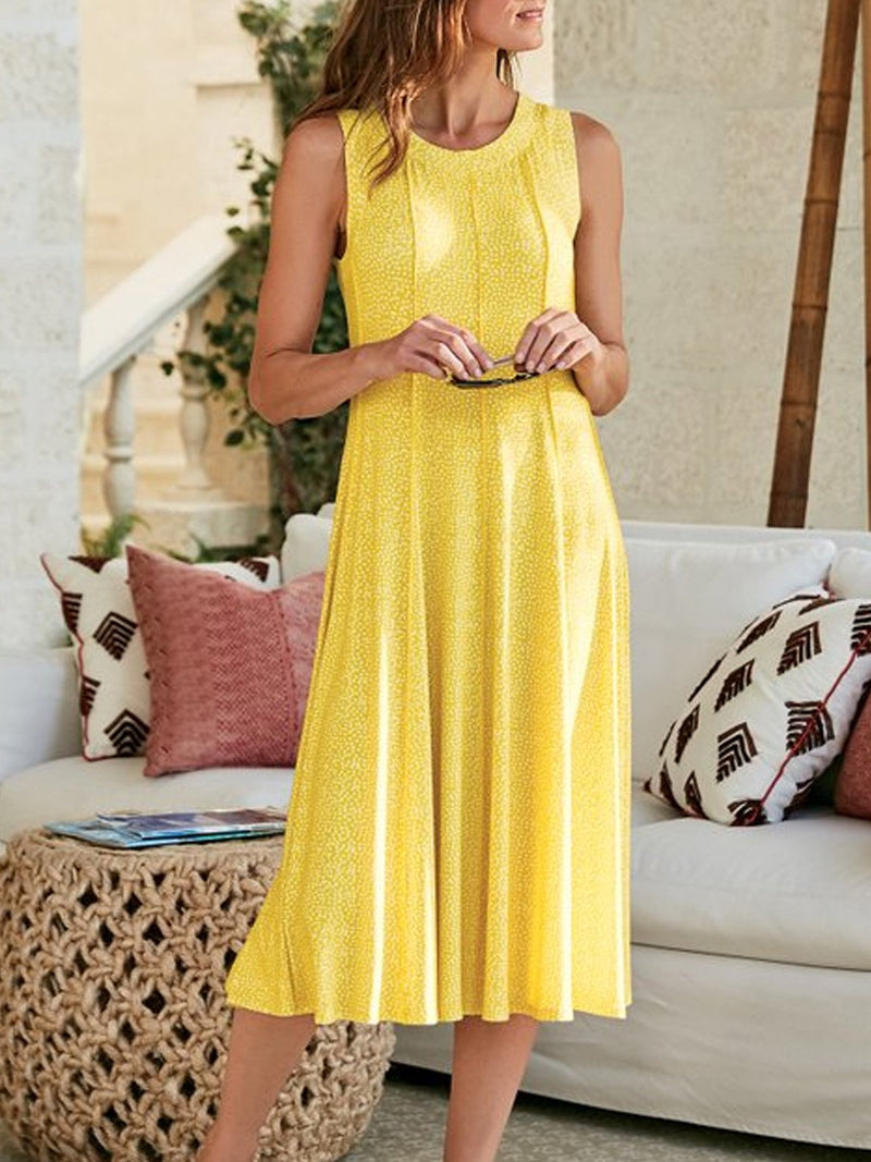 Yellow Sleeveless Patchwork Cotton-Blend Dresses