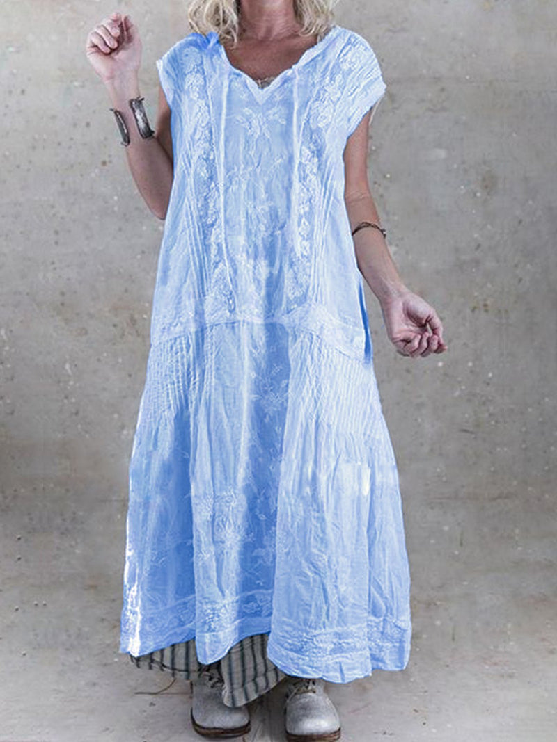 Short Sleeve Patchwork Cutout Linen Maxi Dresses  | elledress