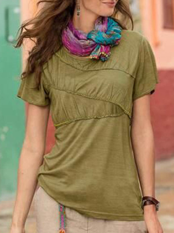 Army Green Boho Patchwork Shirts & Tops