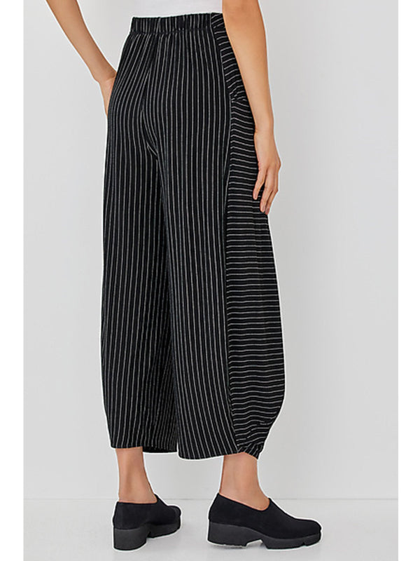 Relaxed Fit Direction-Mixed Pinstripes Elastic Waistband Pants