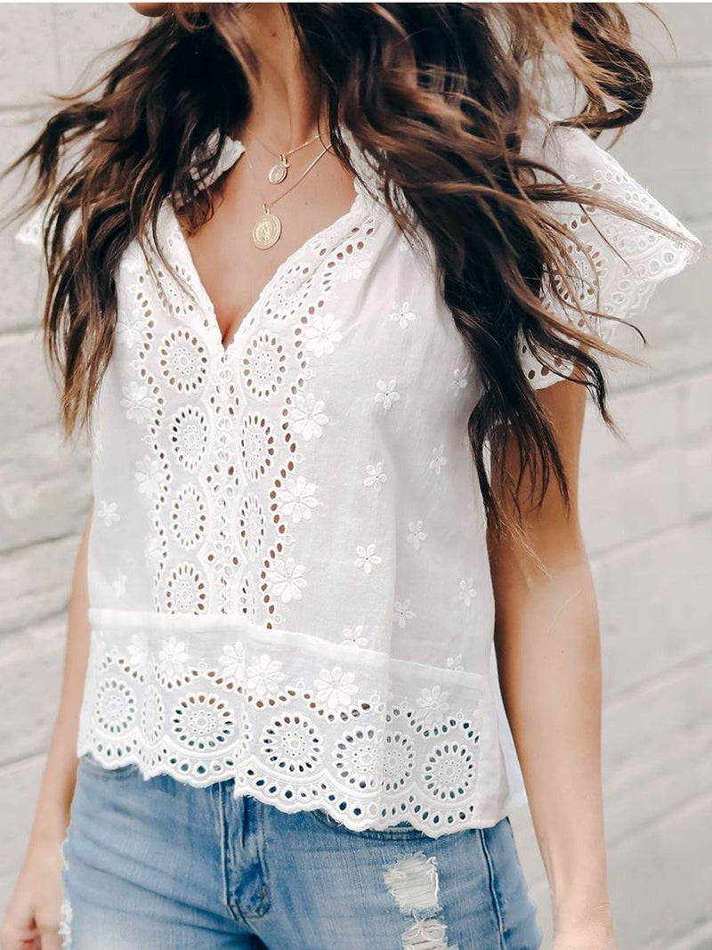 Relaxed Fit Scalloped Hemline Cutout Tops Shirts Tunic
