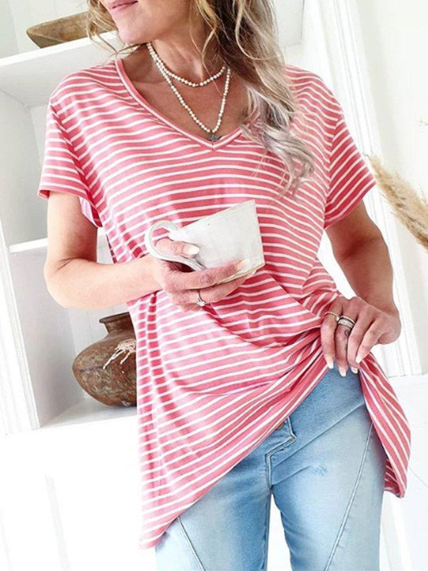 Red Cotton-Blend Short Sleeve Sweetheart Shirts & Tops
