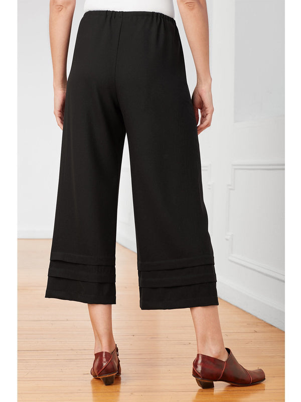 Relaxed fit Tiered ankle tucks Cropped length Pants