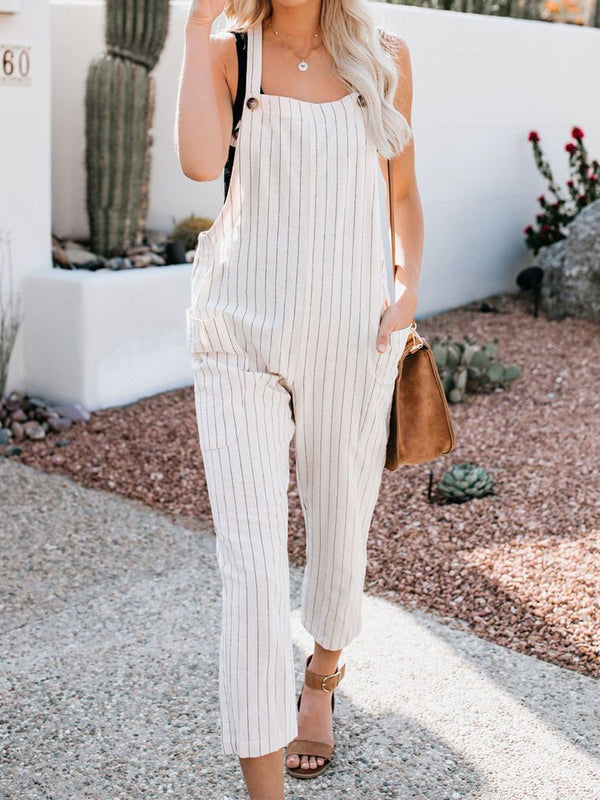 Relaxed Fit Adjustable Straps Wide Legs Pant Jumpsuit