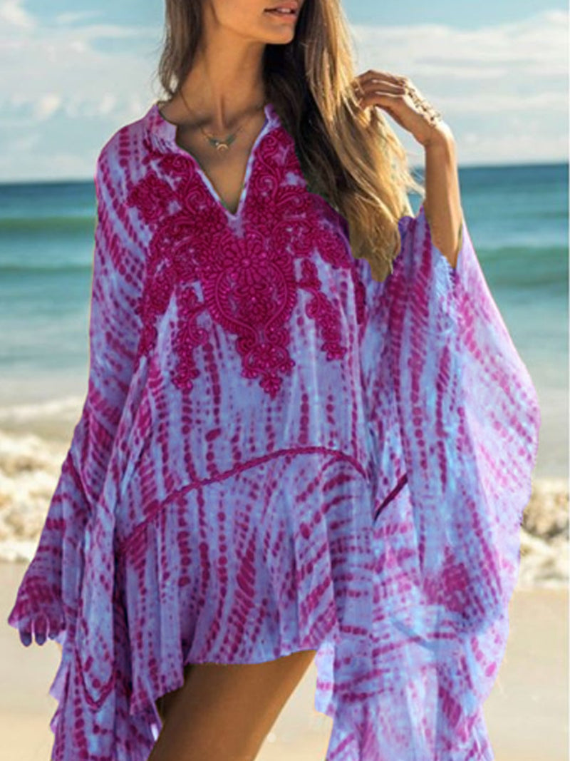 Boho Printed Patchwork Batwing Dress