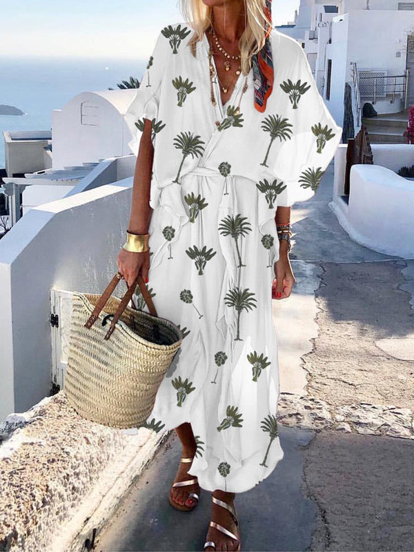 Deep V Neck Crossed Front Self-tie Short Sleeves Printed Maxi Dress