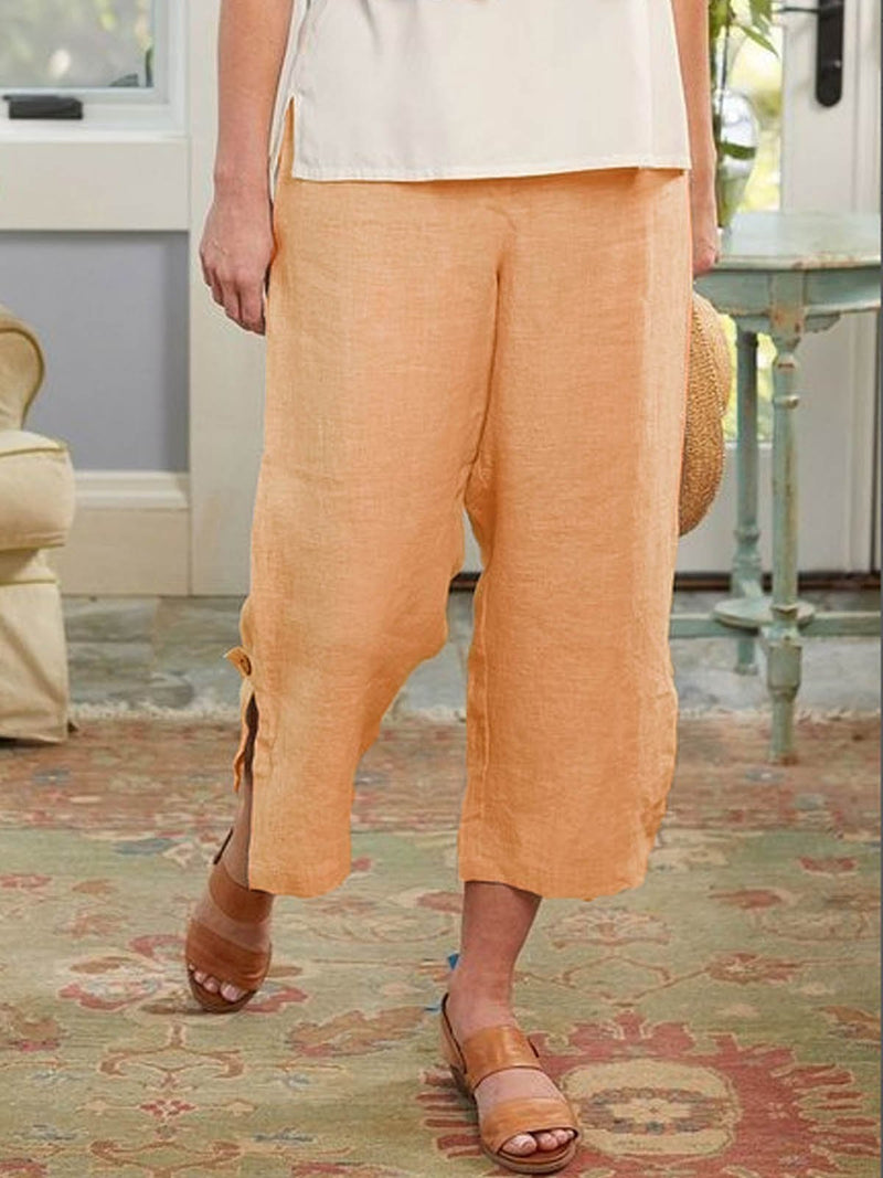 Apricot Boho Cotton-Blend Pants  | elledress