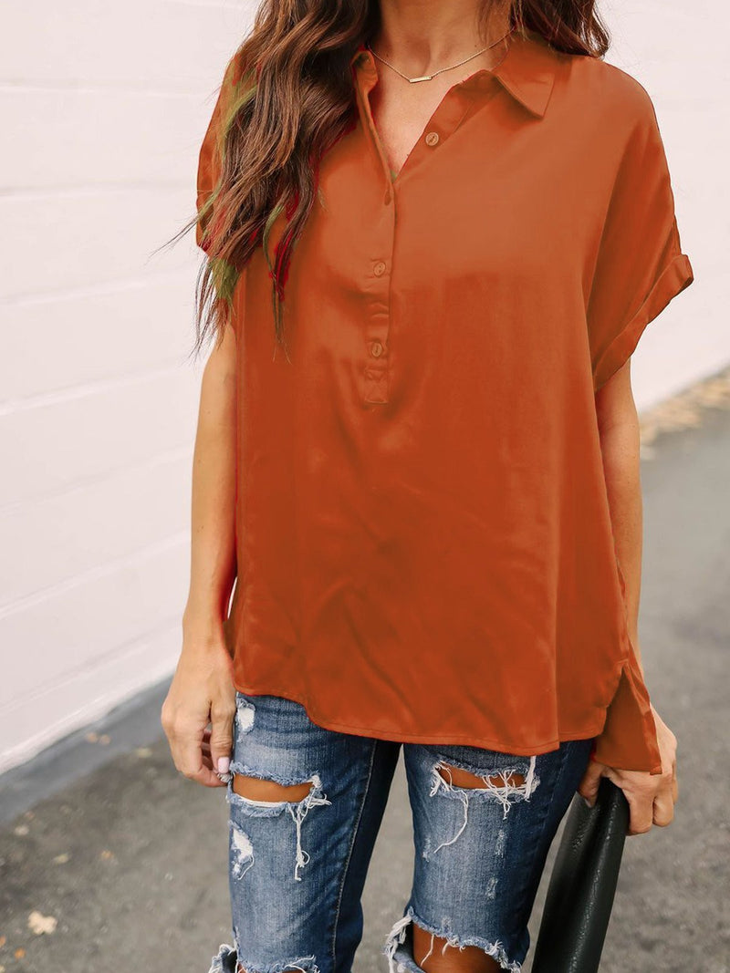 1/2 Button Down Neckline Short Sleeve Shirt Blouse  | elledress