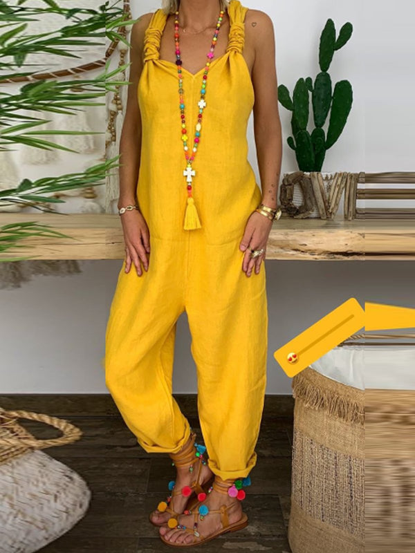 Yellow Sleeveless Solid One-Pieces  | elledress