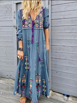 Blue Casual Patchwork Cotton-Blend V Neck Dresses  | elledress