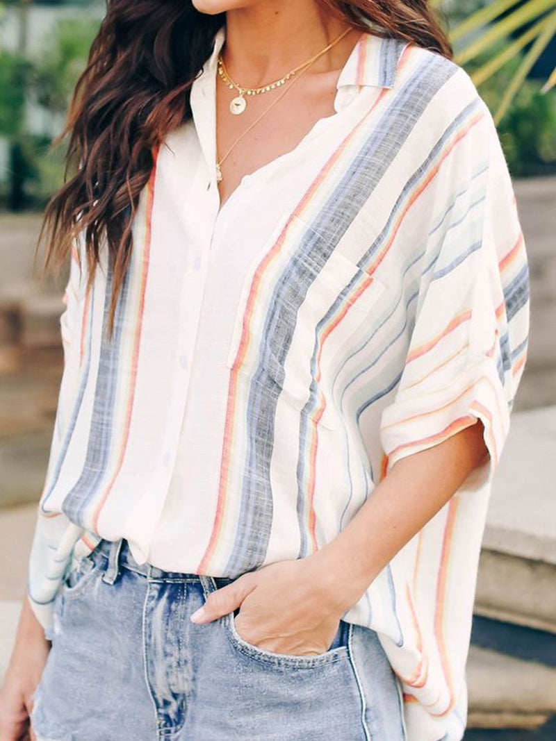 Relaxed Fit Drop Shoulder Button Down Top Blouse Shirt