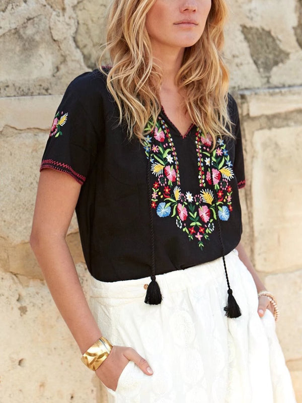 Short Sleeve Boho V Neck Cotton-Blend Shirts & Tops  | elledress