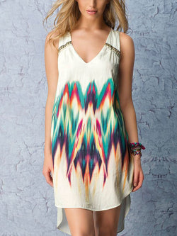 Cotton Sleeveless printed V-neck dress