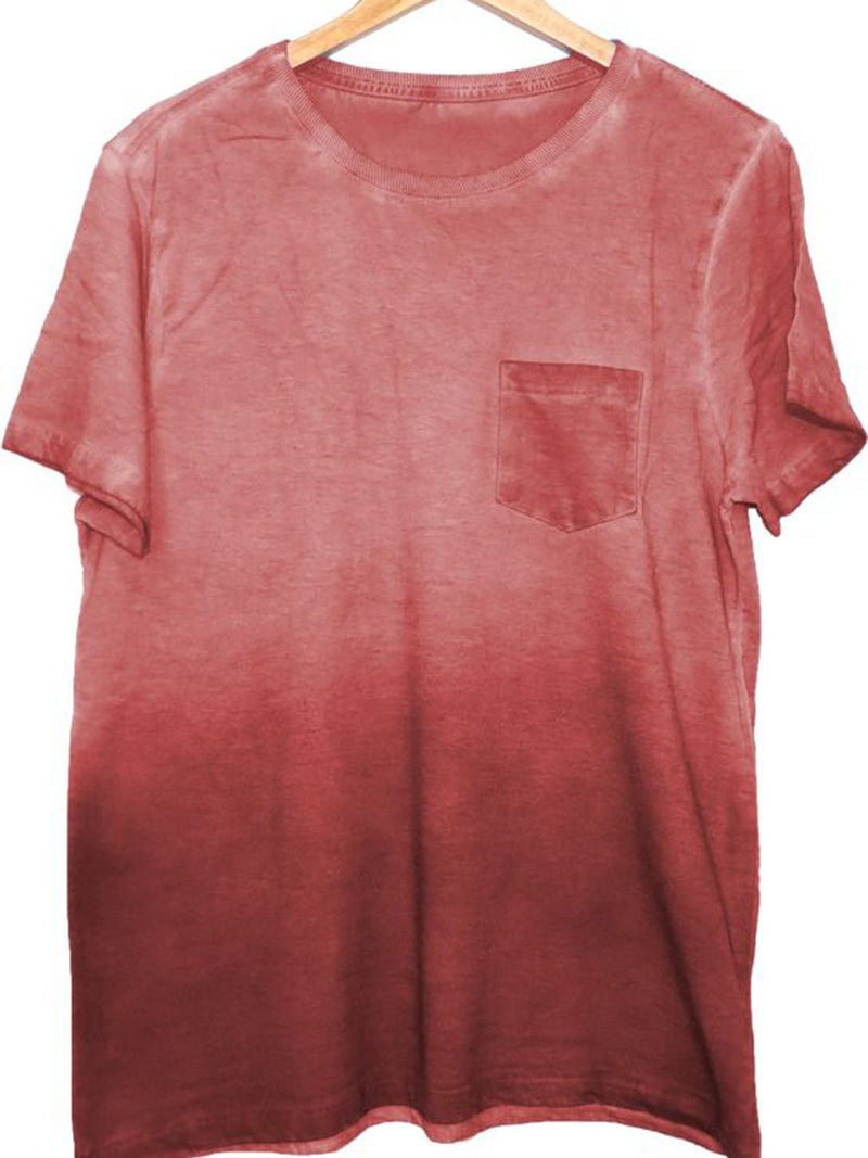 Red Cotton-Blend Short Sleeve Shirts & Tops