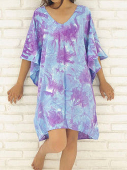 Floral Cotton 3/4 Sleeve V Neck Dresses