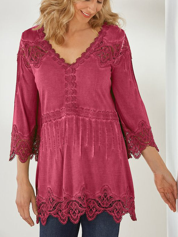Women plus size lace cotton casual TOP  | elledress