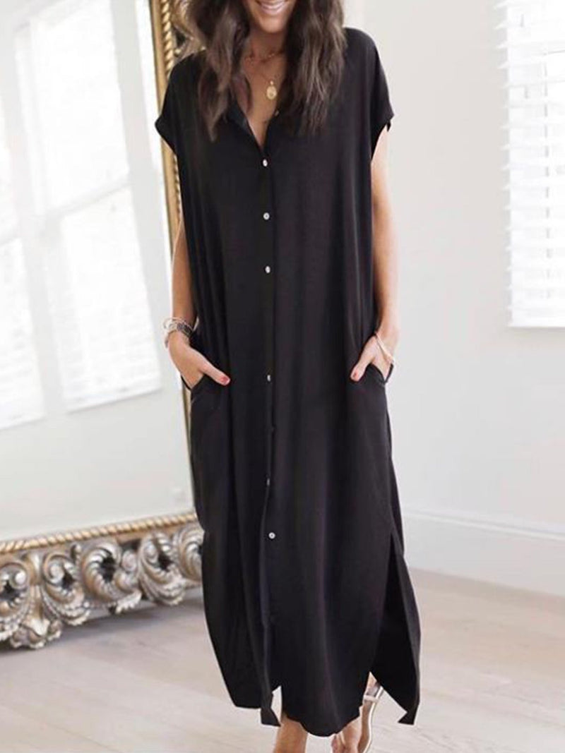 Black Casual V Neck Short Sleeve Cotton Dresses  | elledress