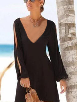 Black Boho Patchwork V Neck Dresses