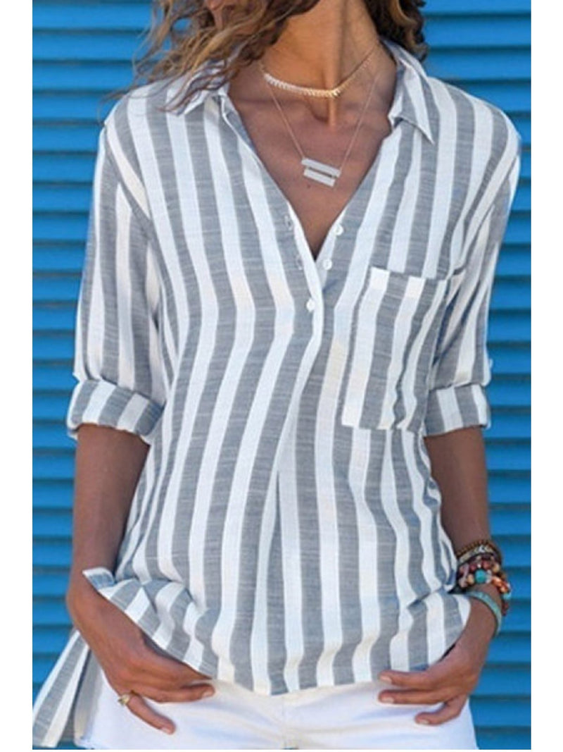 Long Sleeve Cotton Pockets Striped Shirts & Tops