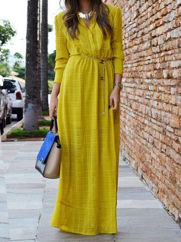 Yellow Cotton Shirt Collar Casual Dresses