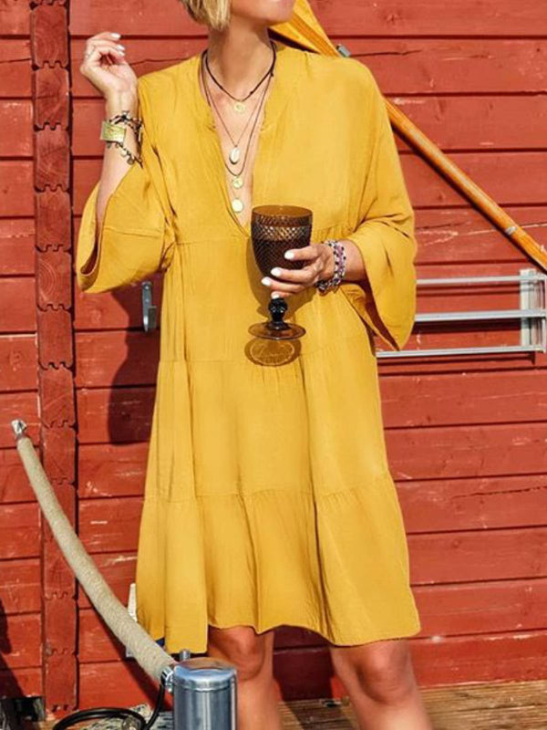 Yellow Casual Cotton Dresses