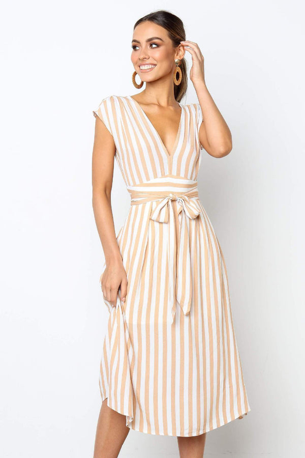 2019 hot selling temperament deep V striped dress women  | elledress