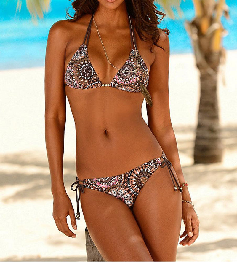 Bohemian sexy print belt split bathing suit