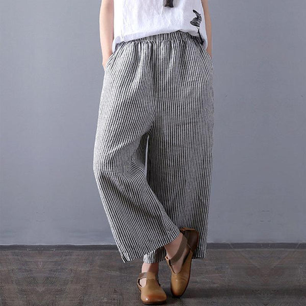 Cotton-linen striped straight nine-minute wide-legged trousers