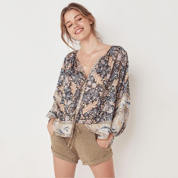 Bohemian Wind Long Sleeve V-Collar Shirt