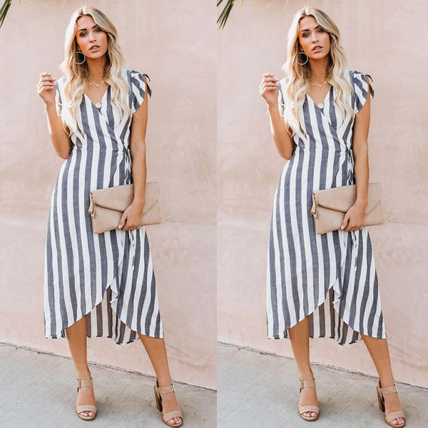 New striped long skirt  V-neck sexy flying sleeve dress 2019