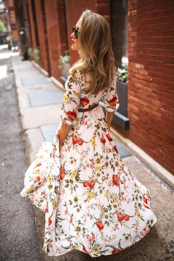 Bohemian nine-sleeve Printed Dress with round collar