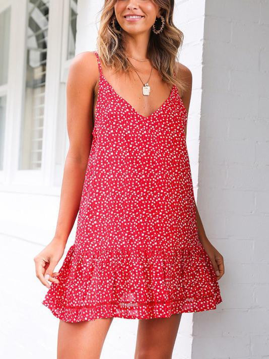 Red Floral Sleeveless Casual Dresses