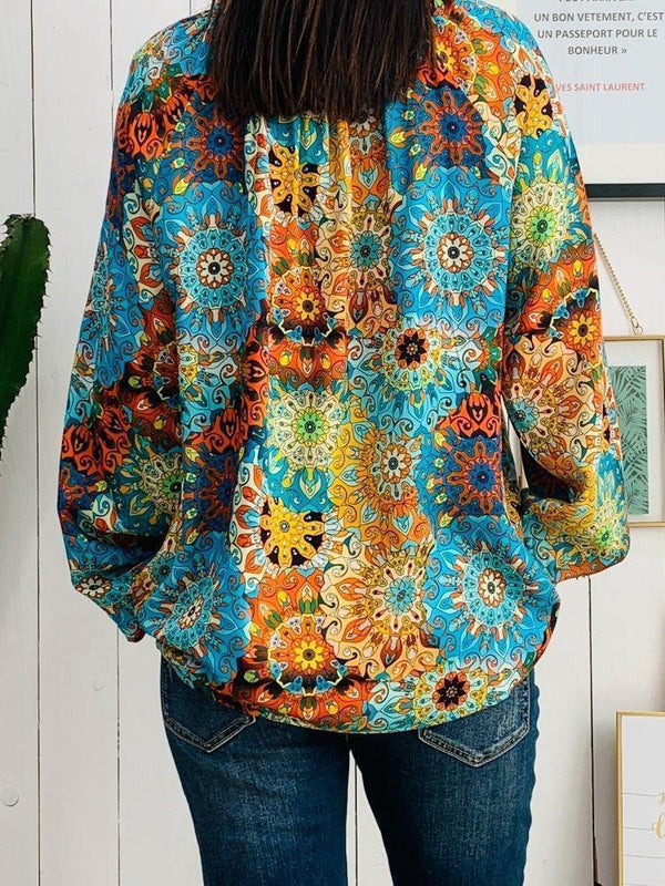 Bohemian printed long-sleeved blouse