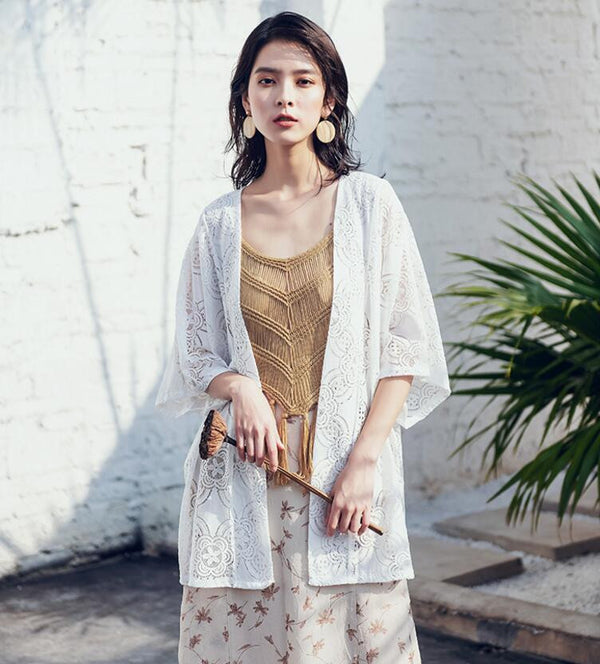 Bohemian Loose Medium and Long Embroidered Lace Cardigan
