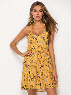 Floral-print Gathered Halter Yellow A-Line Gathered Dresses