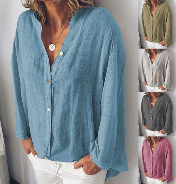 Cotton hemp V collar pure color loose shirt casual shirt
