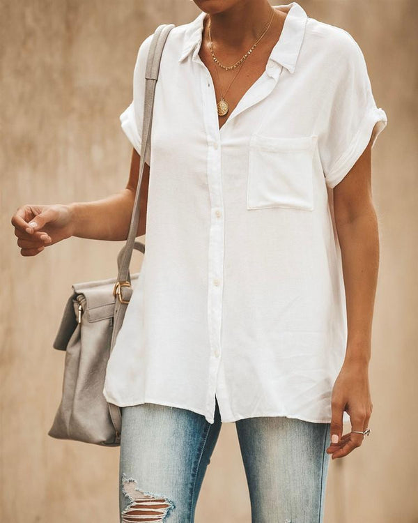 Cotton-linen short-sleeved shirt in pure color