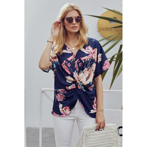 Bohemian printed V-neck loose knotted shirt