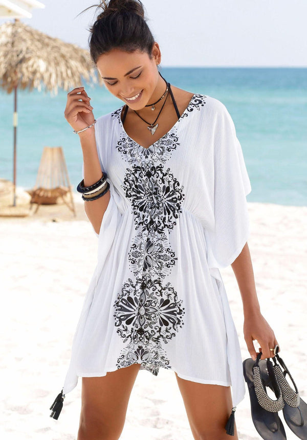 V-collar loose waist sleeve jacket printed blouse Beach Dress  | elledress