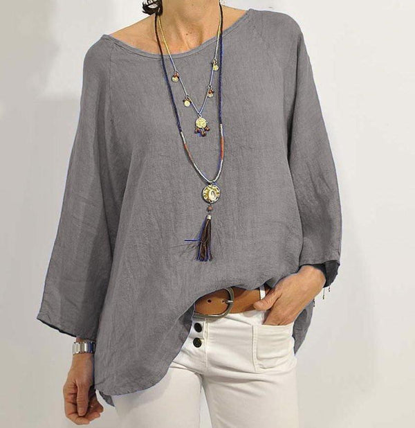 Women's wear round collar loose size long sleeve shirt cotton and linen shirt