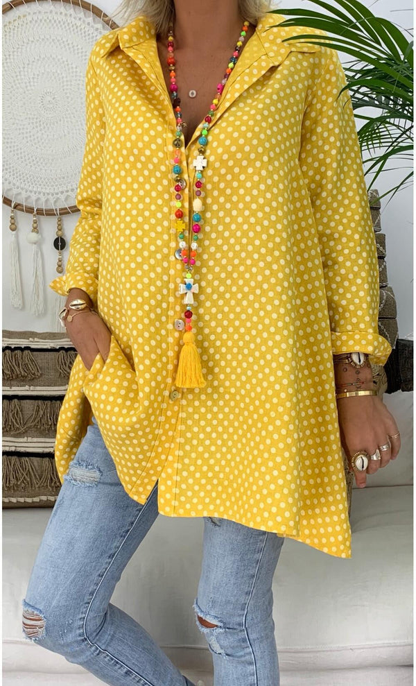 2019 Spring and Summer New Pin Wave Point Printing Large Code Shirts  | elledress