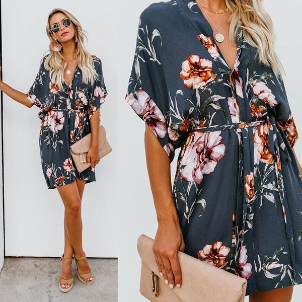 2019 Fashion Spring New Fashion Women's Printed V-Collar Dress  | elledress
