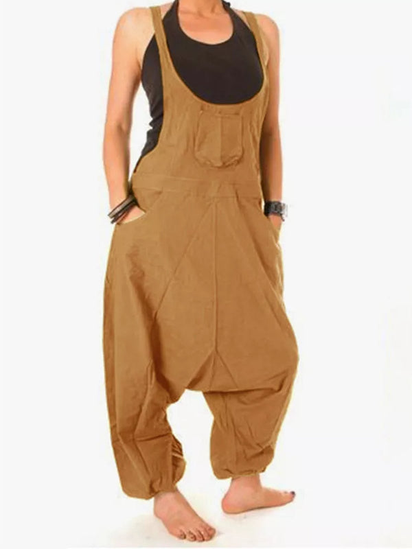 Round Neck Casual Cotton Pocket Jumpsuits