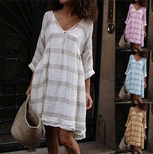 Striped V neck long sleeves medium long dress